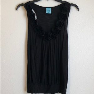 Black Tank Top with Rosette Detail